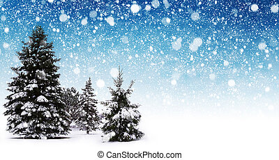 Winter snow abstract - Winter snow background with trees....
