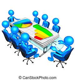 empresa / negocio, informes, reunión