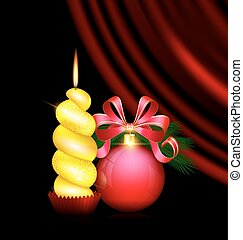yellow candle and red ball - black background, dark crimson...