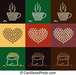 Set of coffee bean in coffee cup, heart and bale shape for...