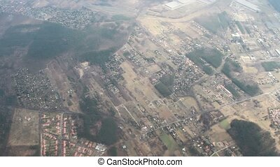 Landscape from the plane window. - Earth landscape view from...