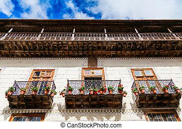old balconies with flower pots in La Orotava - beautiful...