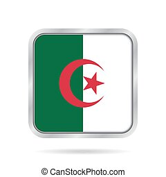 flag of Algeria, shiny metallic gray square button