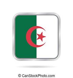 flag of Algeria, shiny metallic gray square button -...