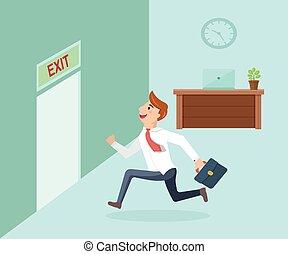 Running businessman and open door exit