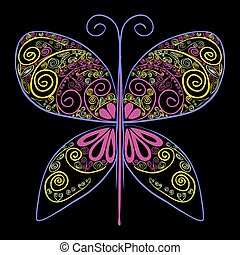 Butterfly Vector illustration with abstract flowers