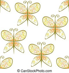 Butterfly Sihouette illustration of seamless pattern with...