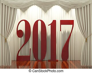 New year 2017,3d rendering of 2017 on stage