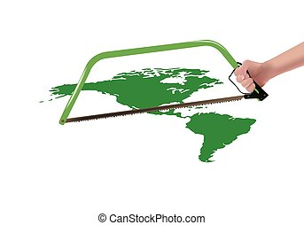 Separation of the Americas Americas - hand with saw that...