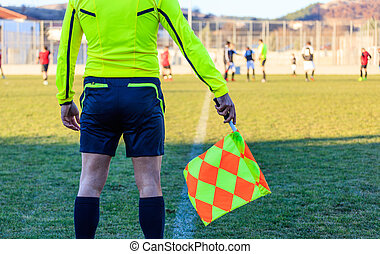 Football assistant referee in action - Football and soccer...