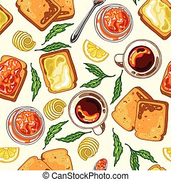 Seamless pattern with breakfast food: toast bread, jam and butter