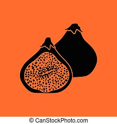 Fig fruit icon. Orange background with black. Vector...