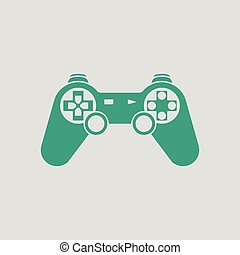 Gamepad icon. Gray background with green. Vector...