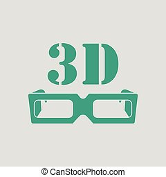 3d goggle icon. Gray background with green. Vector...