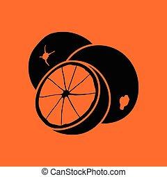 Orange icon. Orange background with black. Vector...
