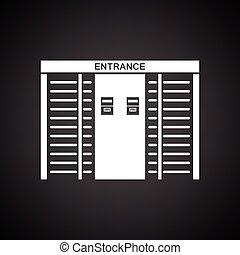 Stadium entrance turnstile icon. Black background with...