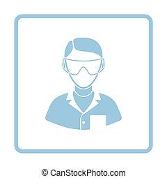 Icon of chemist in eyewear. White background with shadow...