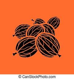 Gooseberry icon. Orange background with black. Vector...