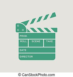Clapperboard icon. Gray background with green. Vector...