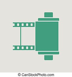 Photo cartridge reel icon. Gray background with green....