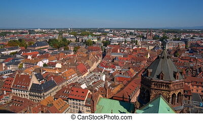 Panoramic view on the old town Nuremberg with red roofs by day.