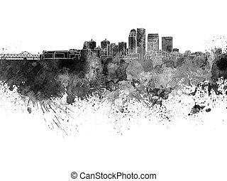 Louisville skyline in black watercolor