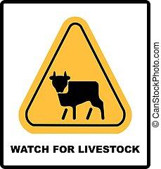 Cow Warning sign yellow. Farm Hazard attention symbol....
