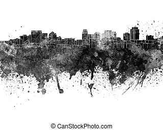 Salt Lake City skyline in black watercolor
