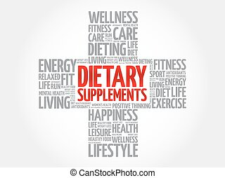 Dietary Supplements word cloud, health cross concept...