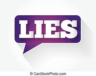 LIES text message bubble, flat business concept background