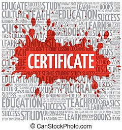 CERTIFICATE word cloud, education concept