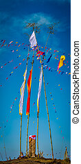 Bamboo sticks with cloth - Photo of bamboo sticks with...