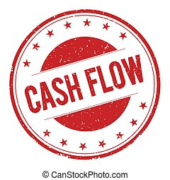 CASH-FLOW stamp sign text word logo red.