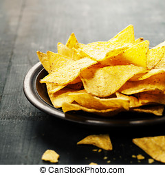 Nachos corn chips on the table