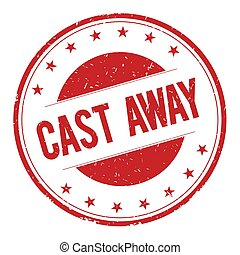 CAST-AWAY stamp sign text word logo red.