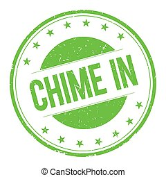 CHIME-IN stamp sign text word logo green.