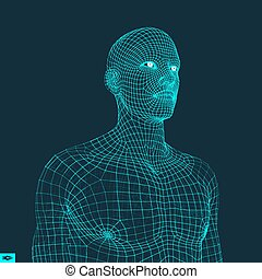 Head of the Person from a 3d Grid. Polygonal Covering Skin....