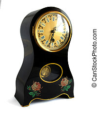 Antique mantel chime clock on white with shadows