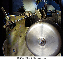Brass chimes and bronze hammers - Mechanism of mantel clock...