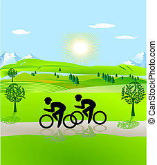 Aller bicyclette, ouvert, paysage