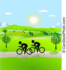 El montar en bicicleta, abierto, paisaje