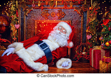 happy holidays - Santa Claus bring gifts for Christmas. The...