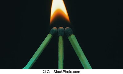 Burning Matches, Chain Reaction And Flame. Three Matches...