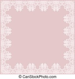 pink lace frame - Elegant lace frame on a pink background