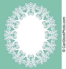 White lace doily - White openwork lace doily on a turquoise...