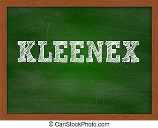 KLEENEX handwritten text on green chalkboard - KLEENEX...