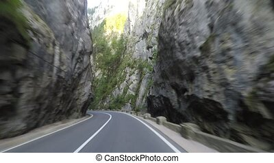 Road in narrow pass - Road in Bicaz Gorge, a narrow pass...