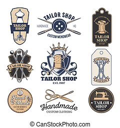 Set of vector tailor emblem, signage - Set of vector vintage...