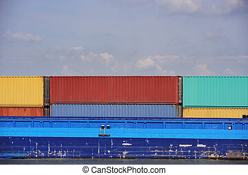 Cargo containers on deck