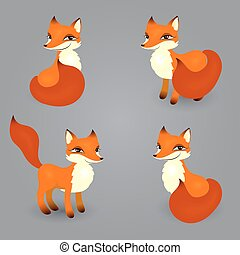 fox isolated diferent poses - vector set of red mischievous...